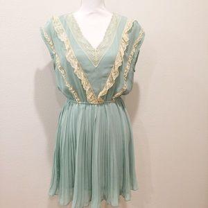 MINA UK Seafoam Green & Lace Spring Pleated Dress